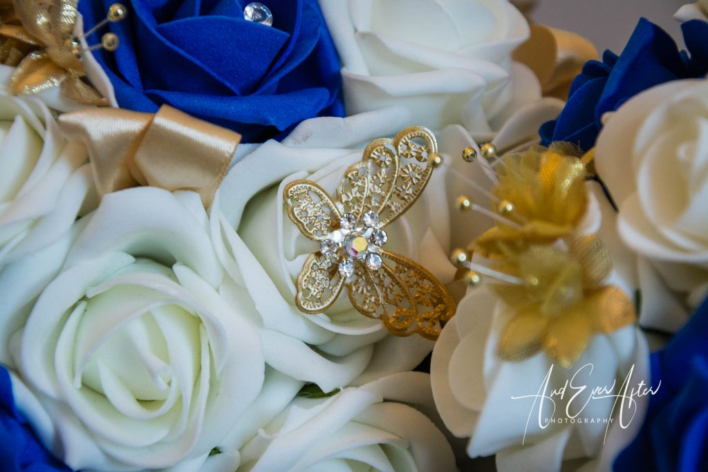 wedding day flowers blue and white in colour