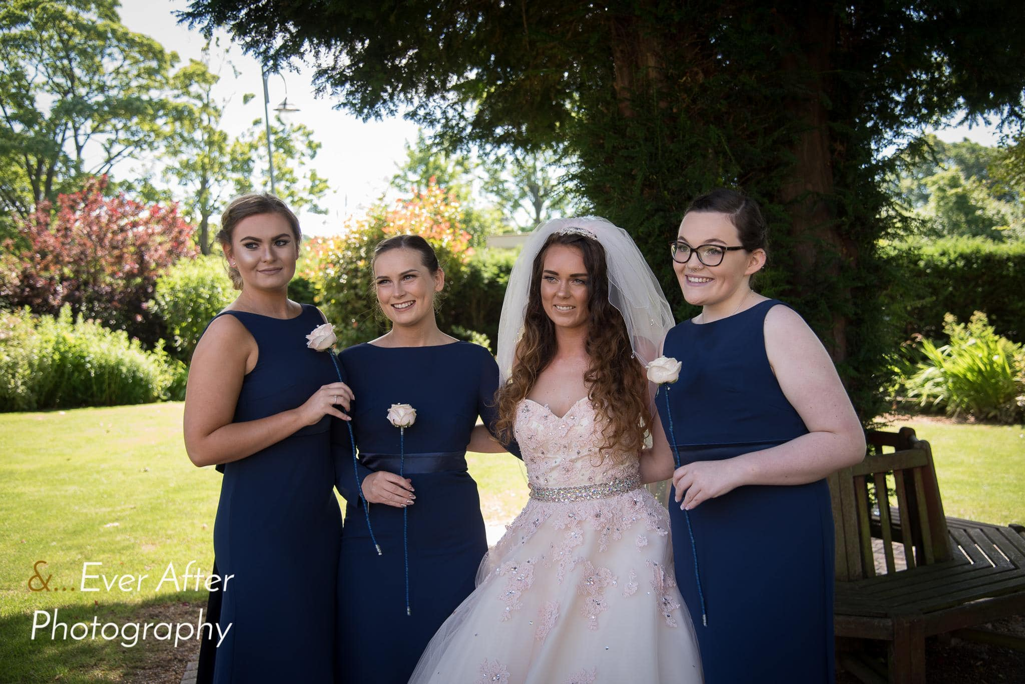 Bride, bridesmaids, maid of honour, wedding
