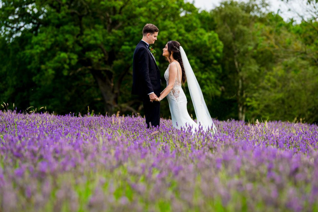 county durham wedding photographer, bride and groom in lavender field at the Black Horse in Beamish