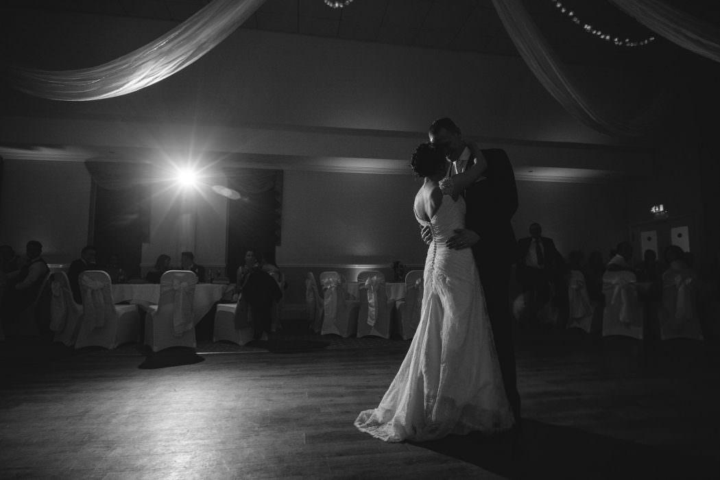 first wedding dance, bride and groom, spotlight