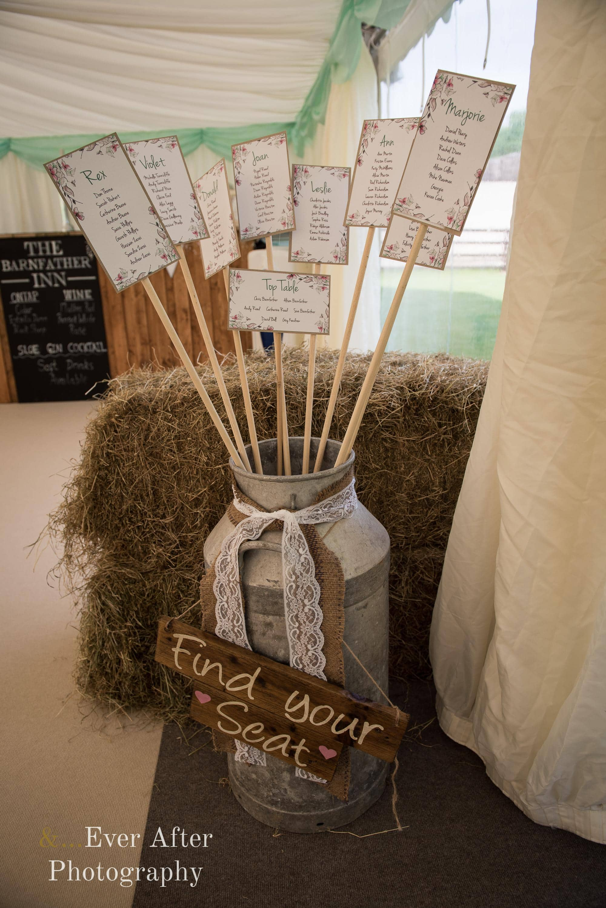 Wedding day, seating plan, rustic wedding, milk churn