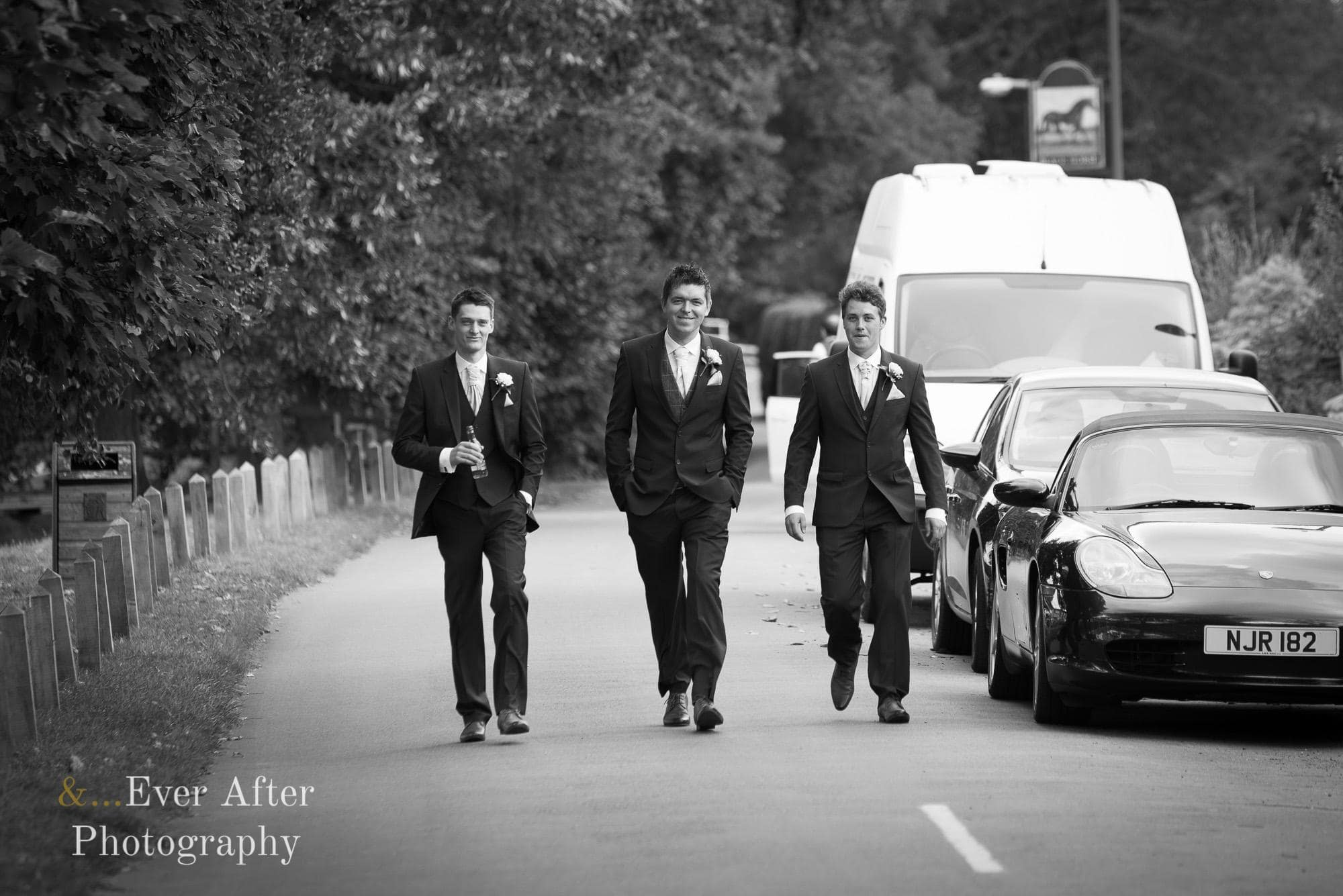 groom, best man, ushers, walk to church