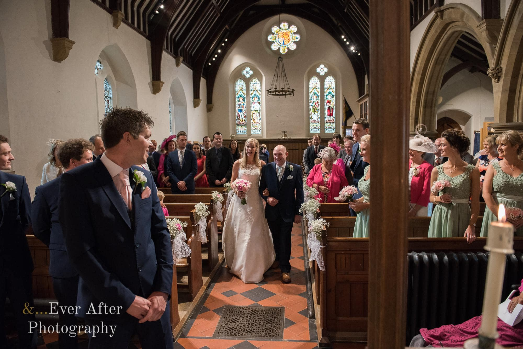 wedding day, church ceremony, marriage, bride, groom, aisle