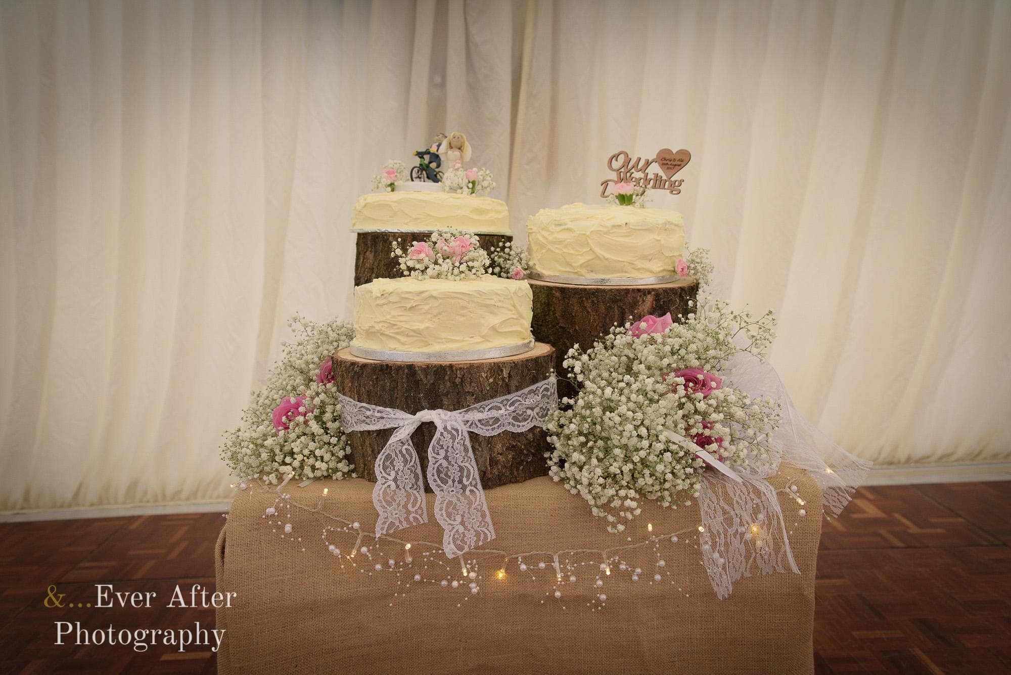 wedding cake, cake topper, rustic cake display