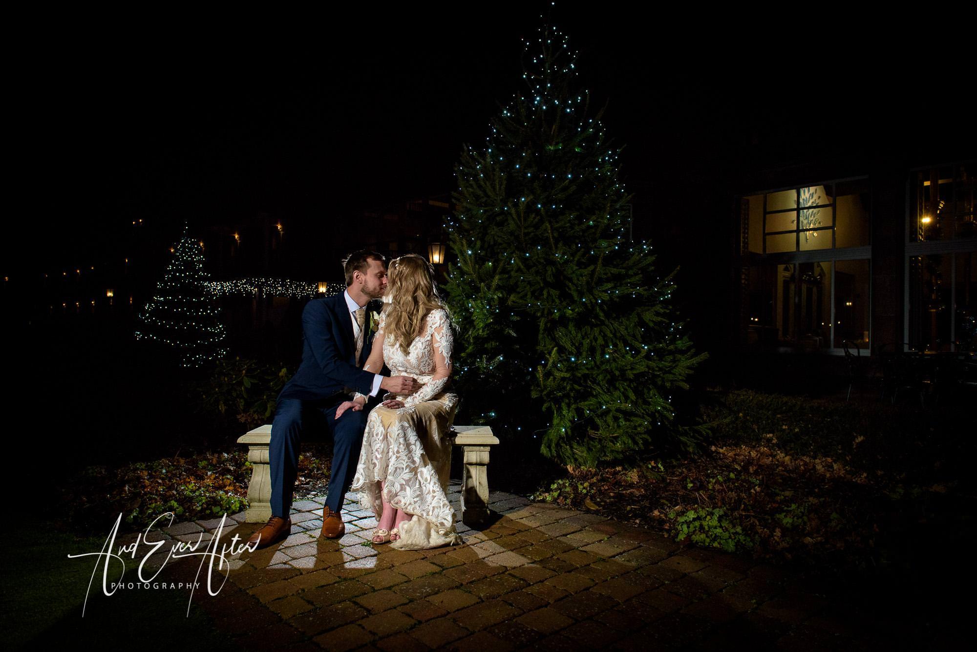 Winter wedding, Rockliffe Hall, Christmas tree