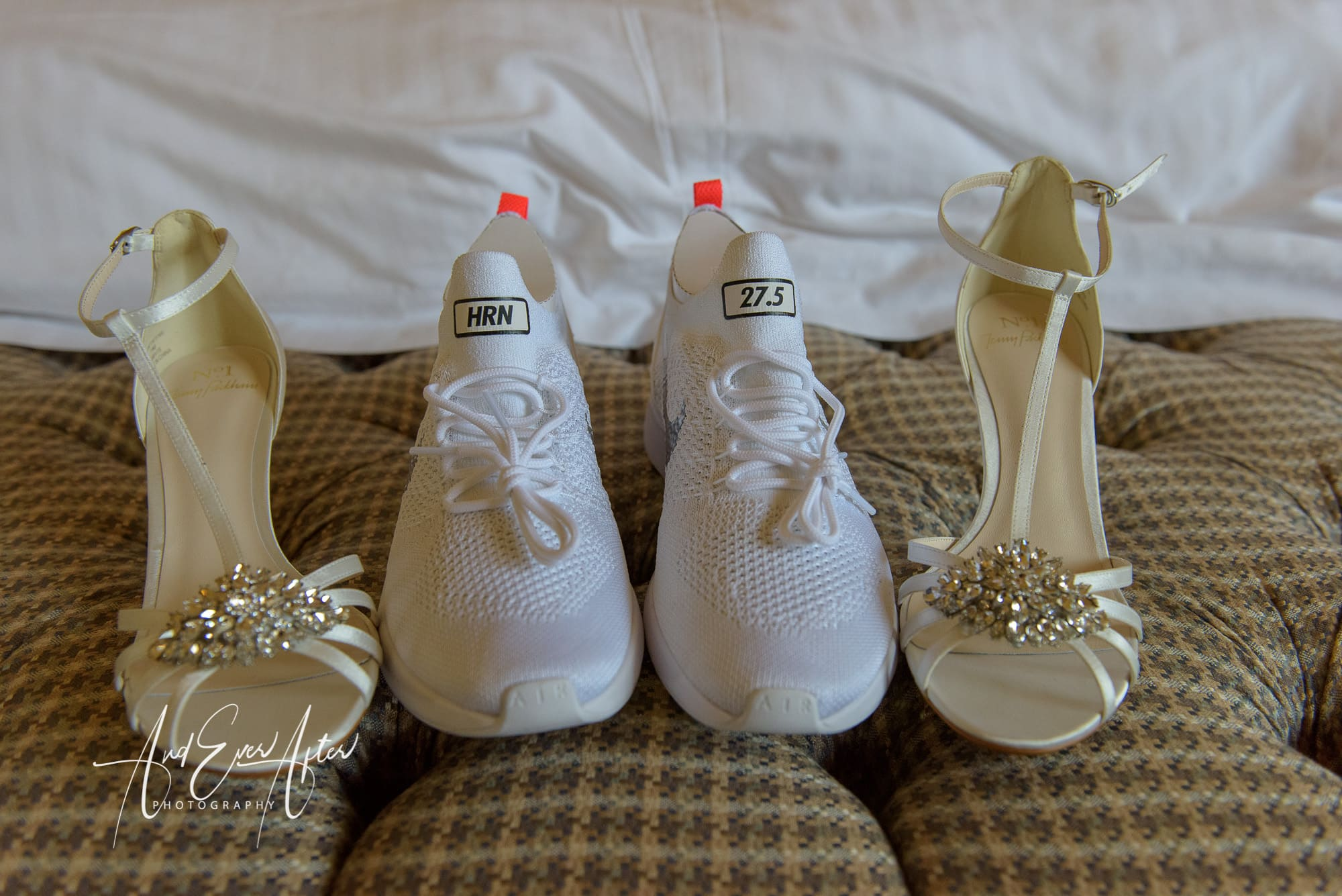 bridal shoes, nike, and ever after photography