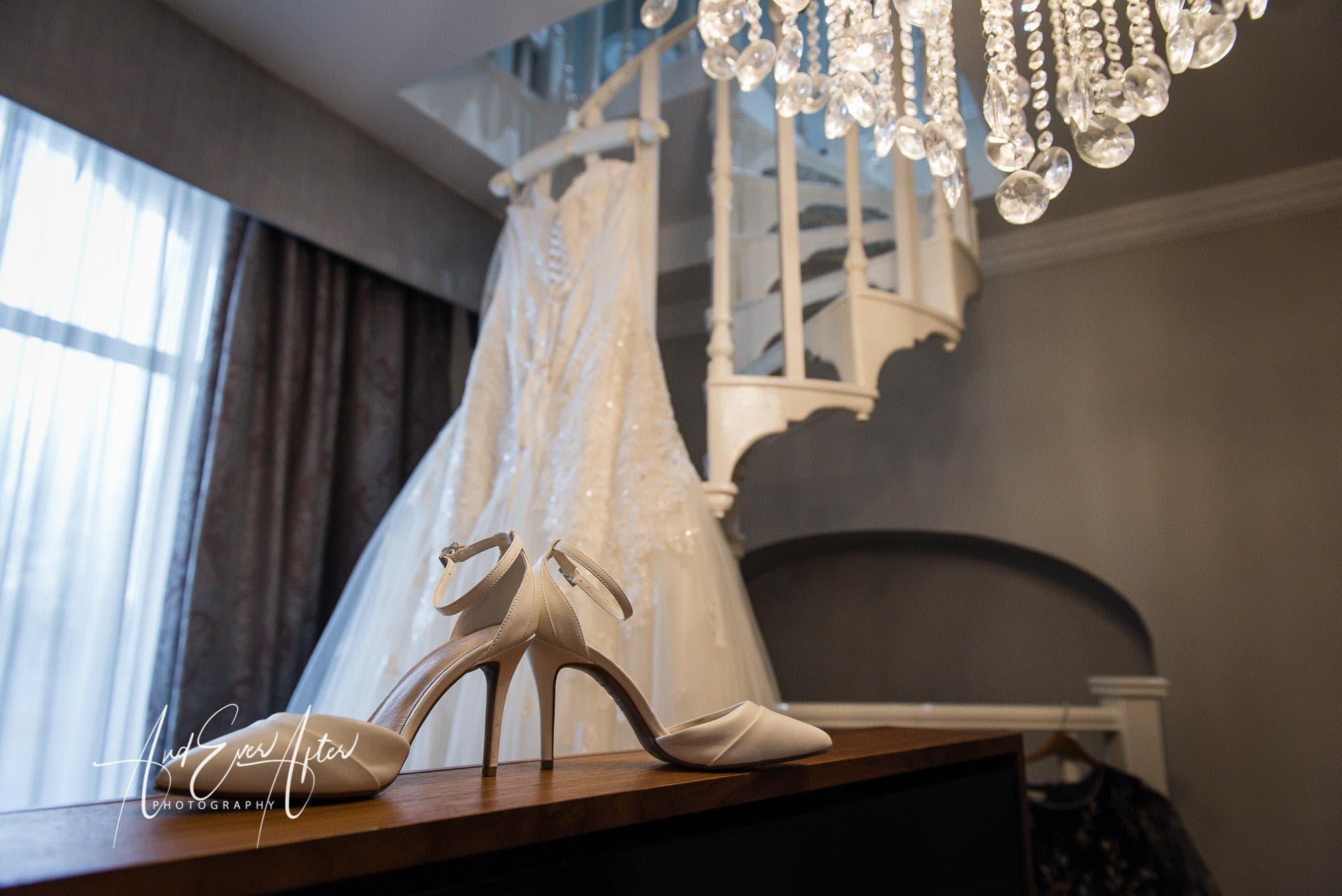 wedding dress, wedding shoes