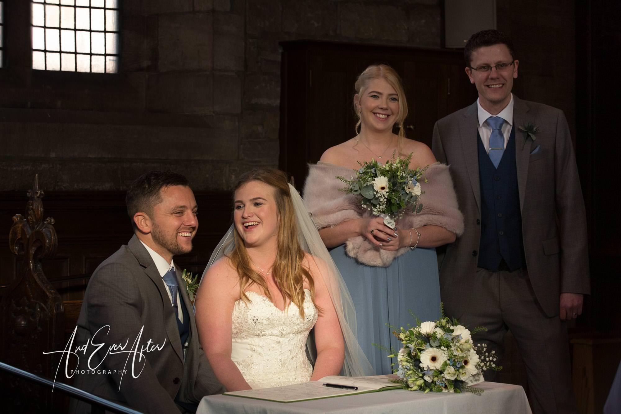 wedding register, best man, bridesmaid, bride, groom