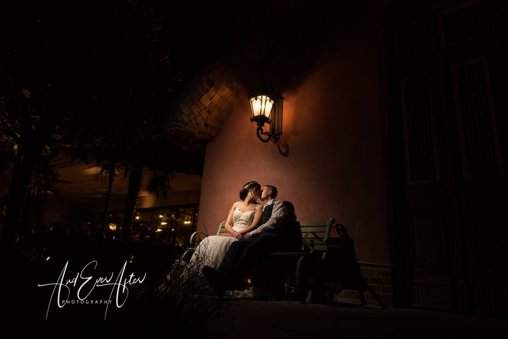 bride and groom kissing on their wedding day at Le Petit Chateau
