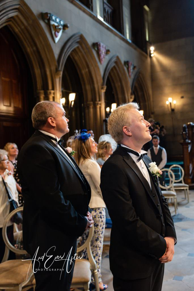 north east wedding at matfen hall, groom waiting for his bride