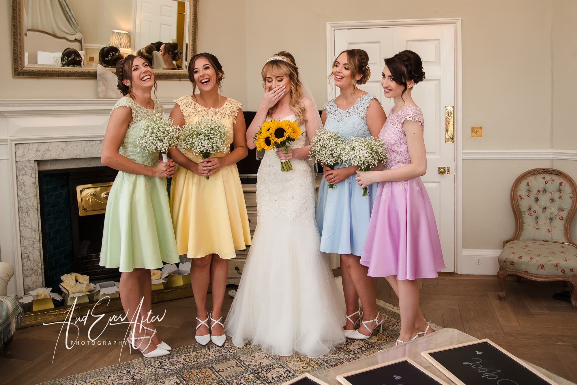 Middelton Lodge Wedding Photography, And Ever after Photography, bride, bridesmaids