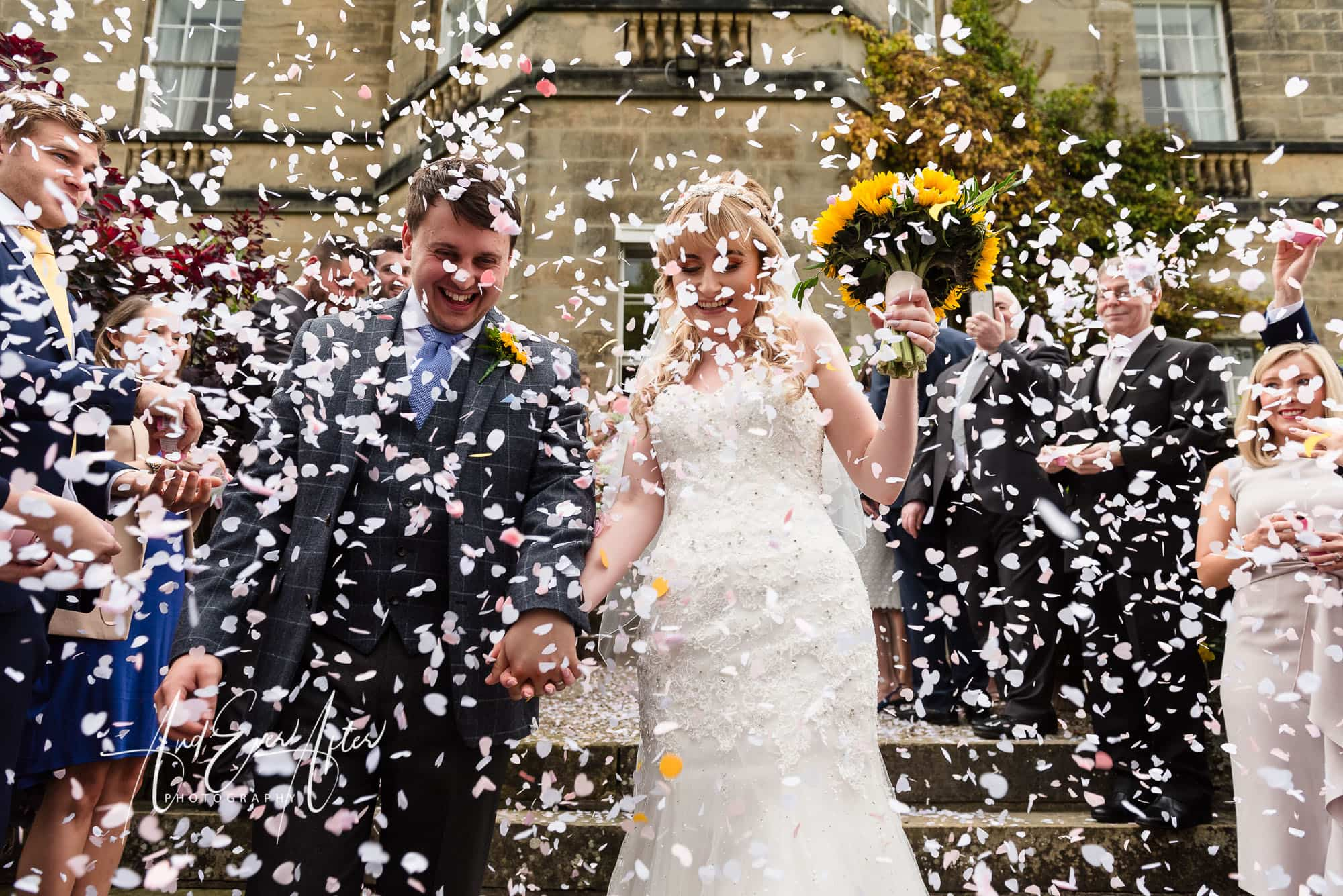 Middelton Lodge Wedding Photography, And Ever after Photography, confetti