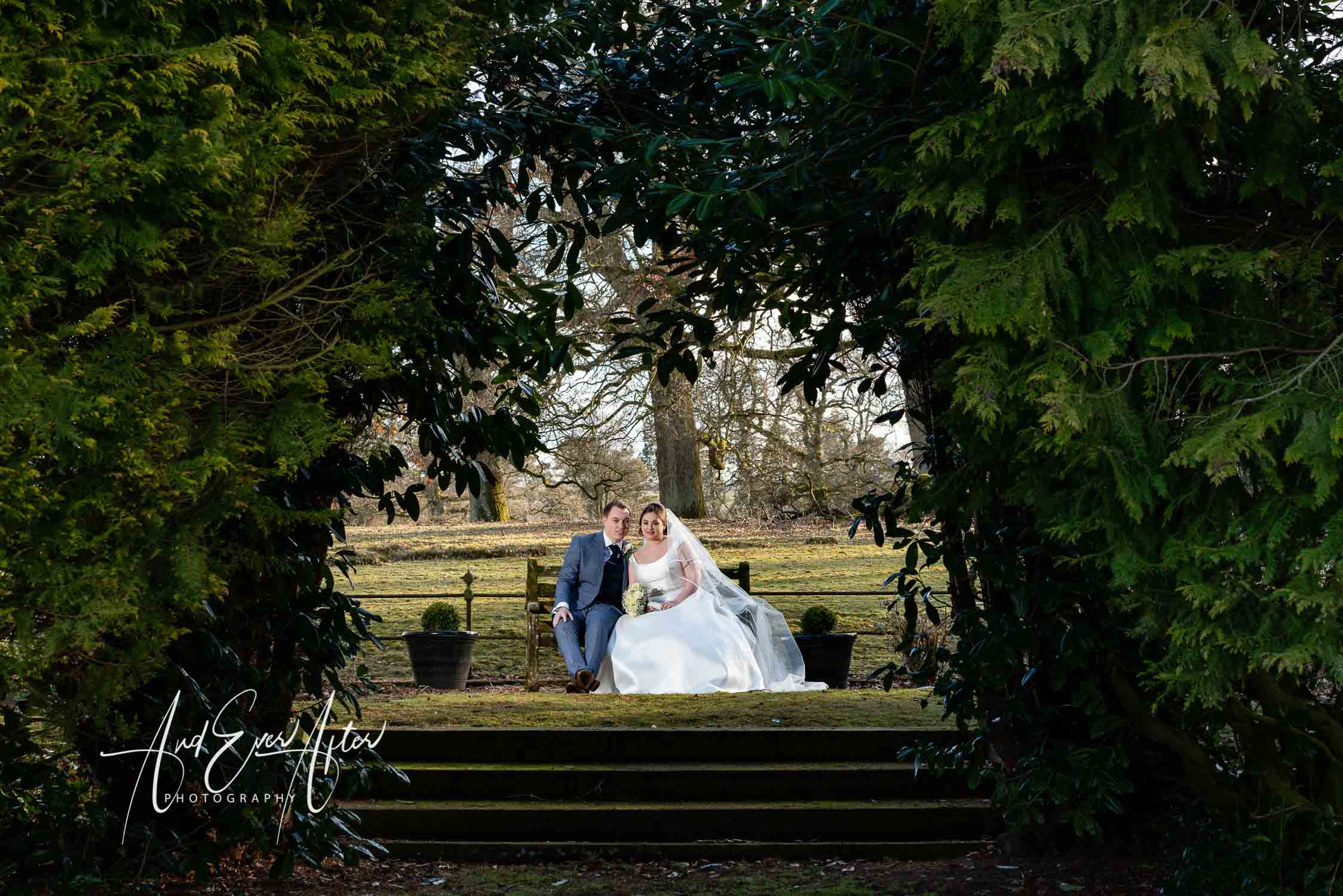 Wedding photographs, bride and groom in grounds of lartington hall