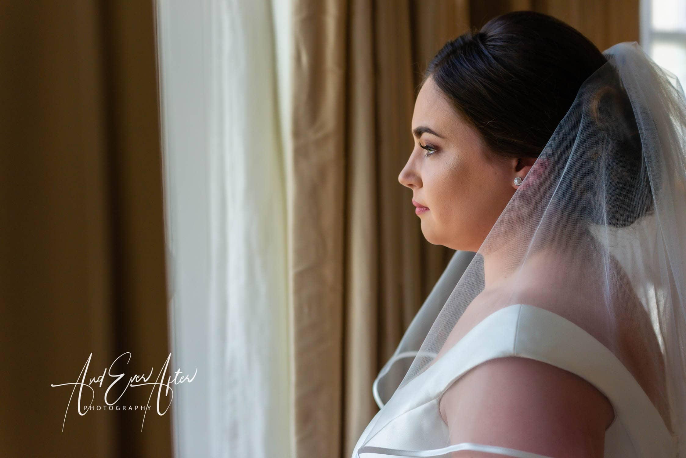 bride looking out of window, lartington hall