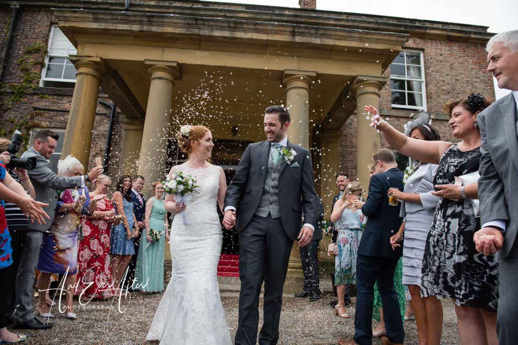 wedding day, confetti, wedding guests, bride and groom