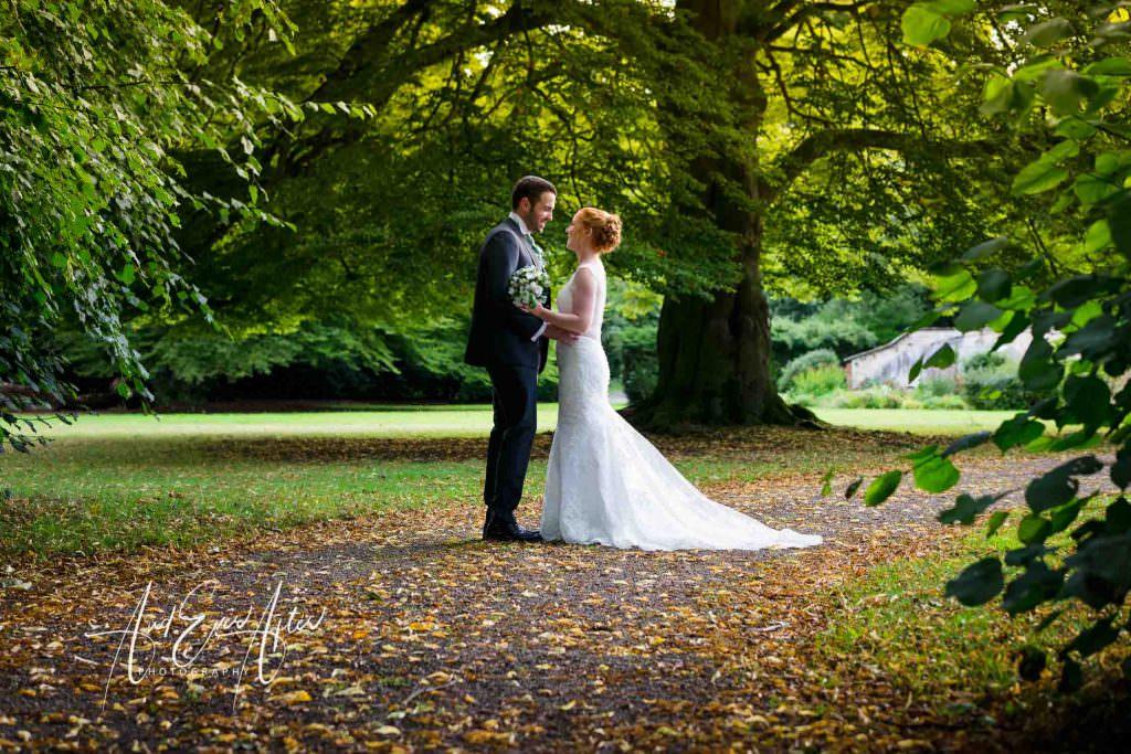 solberge hall wedding, bride and groom, wedding day, gardens
