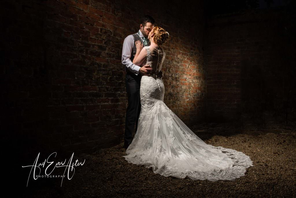 bride and groom at solberge hall, creative photography using spotlights