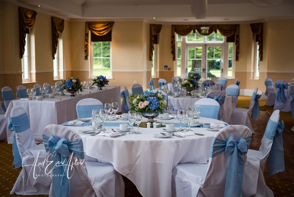 Wedding venue, dining room, wedding day set up