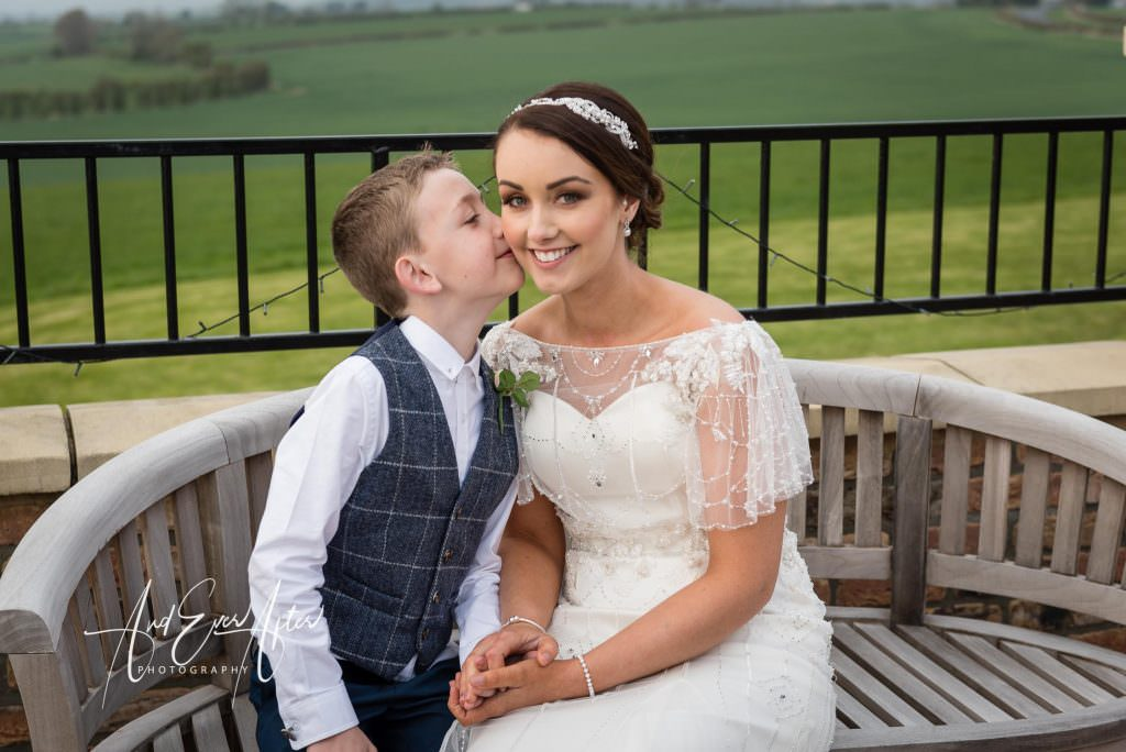 bride and son sitting down