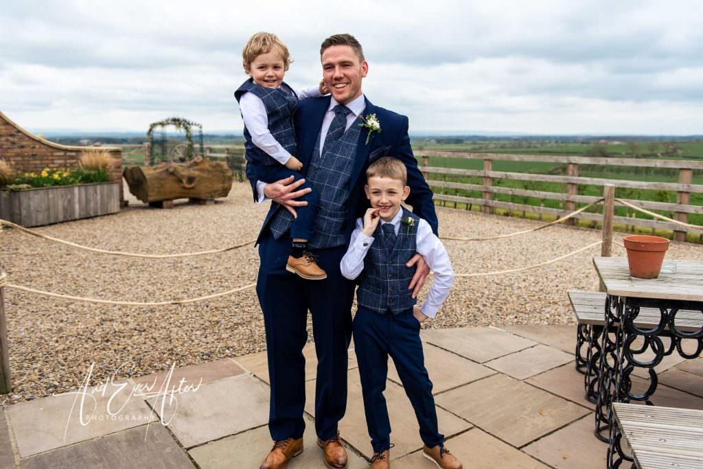 bridegroom and sons ready for the wedding day