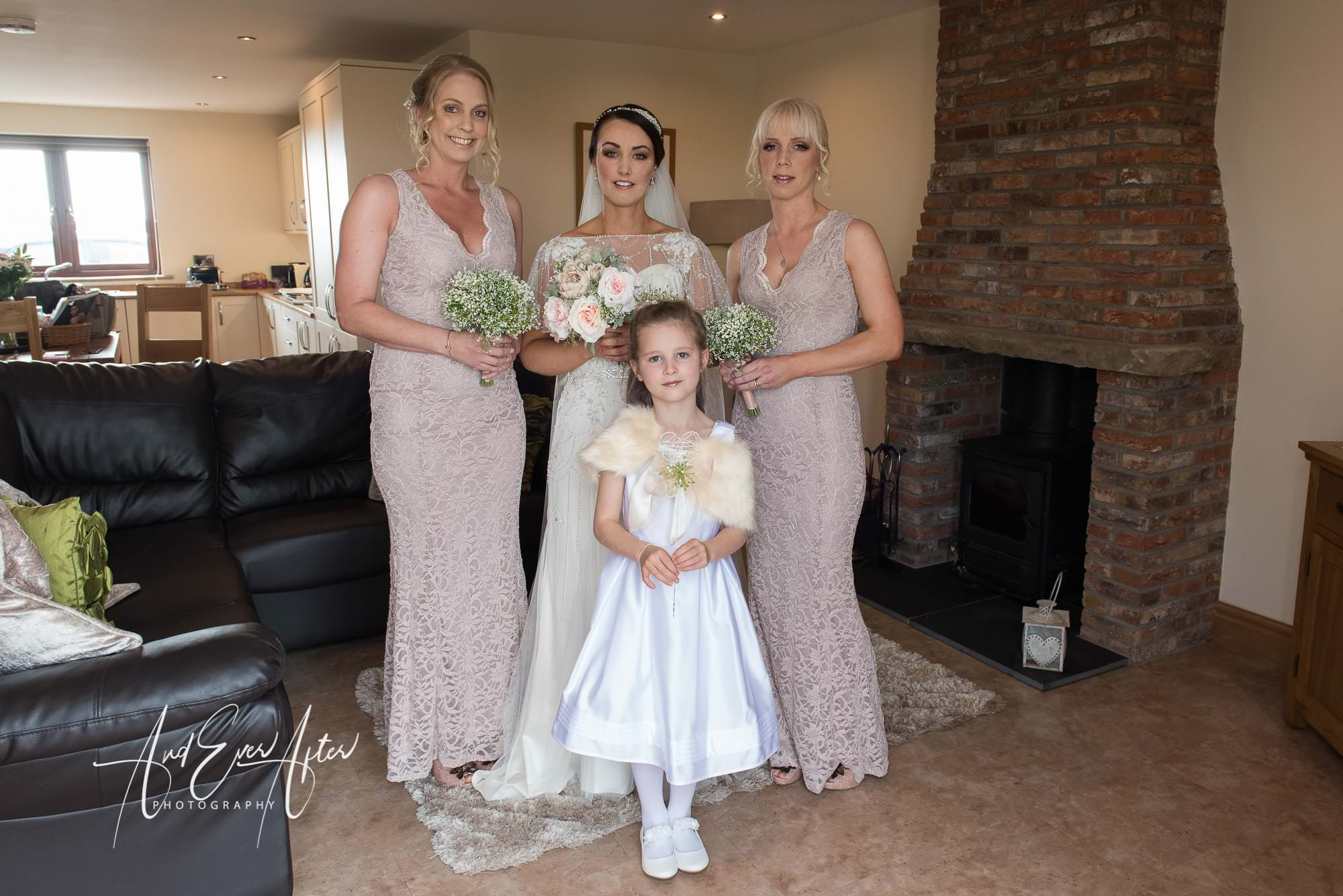bride, bridesmaids, flower girl