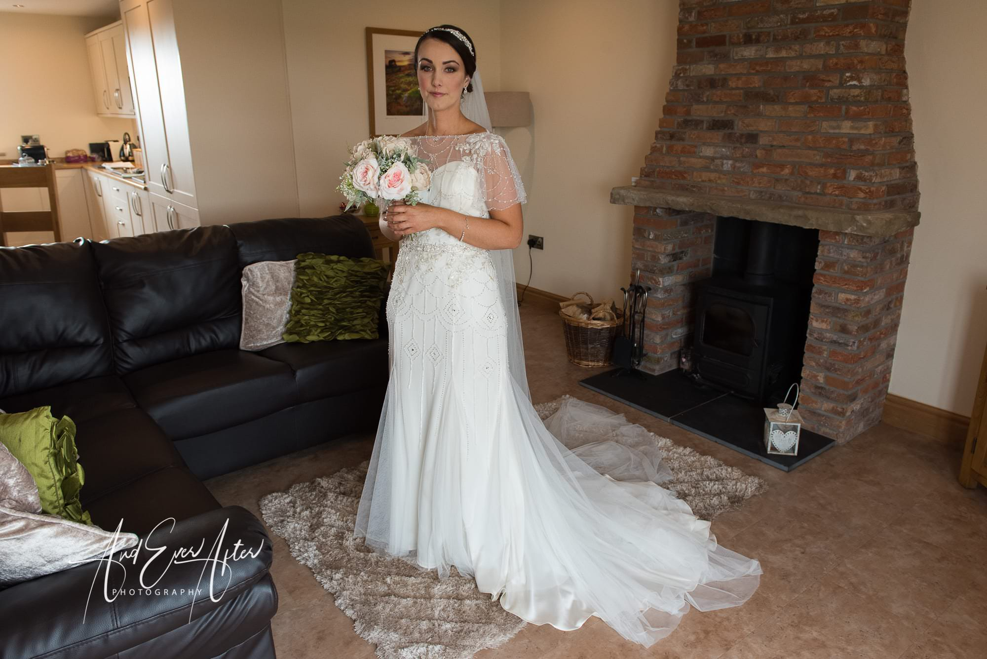 bride, wedding dress, bridal bouquet