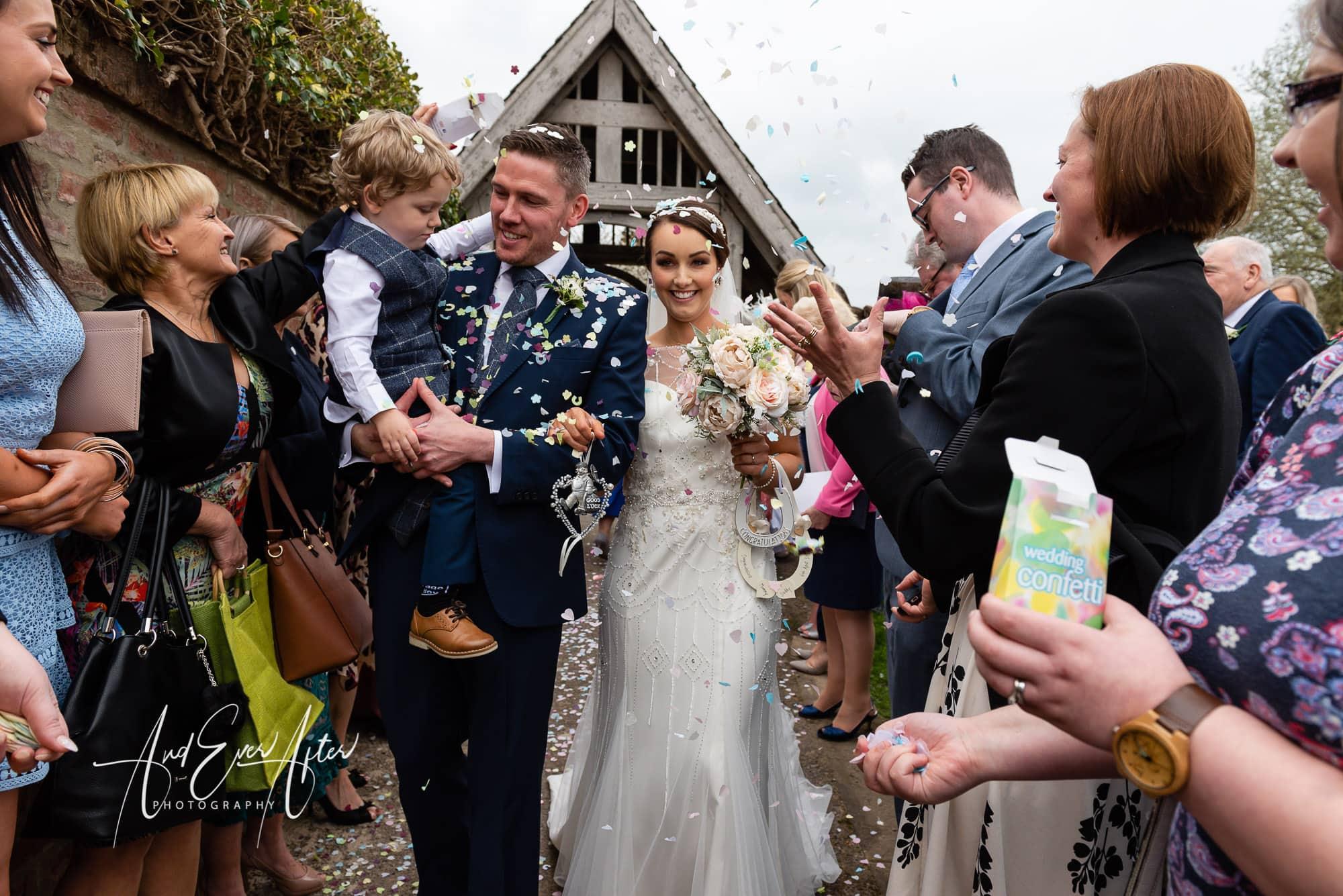 bride, groom, wedding day, love, confetti throw