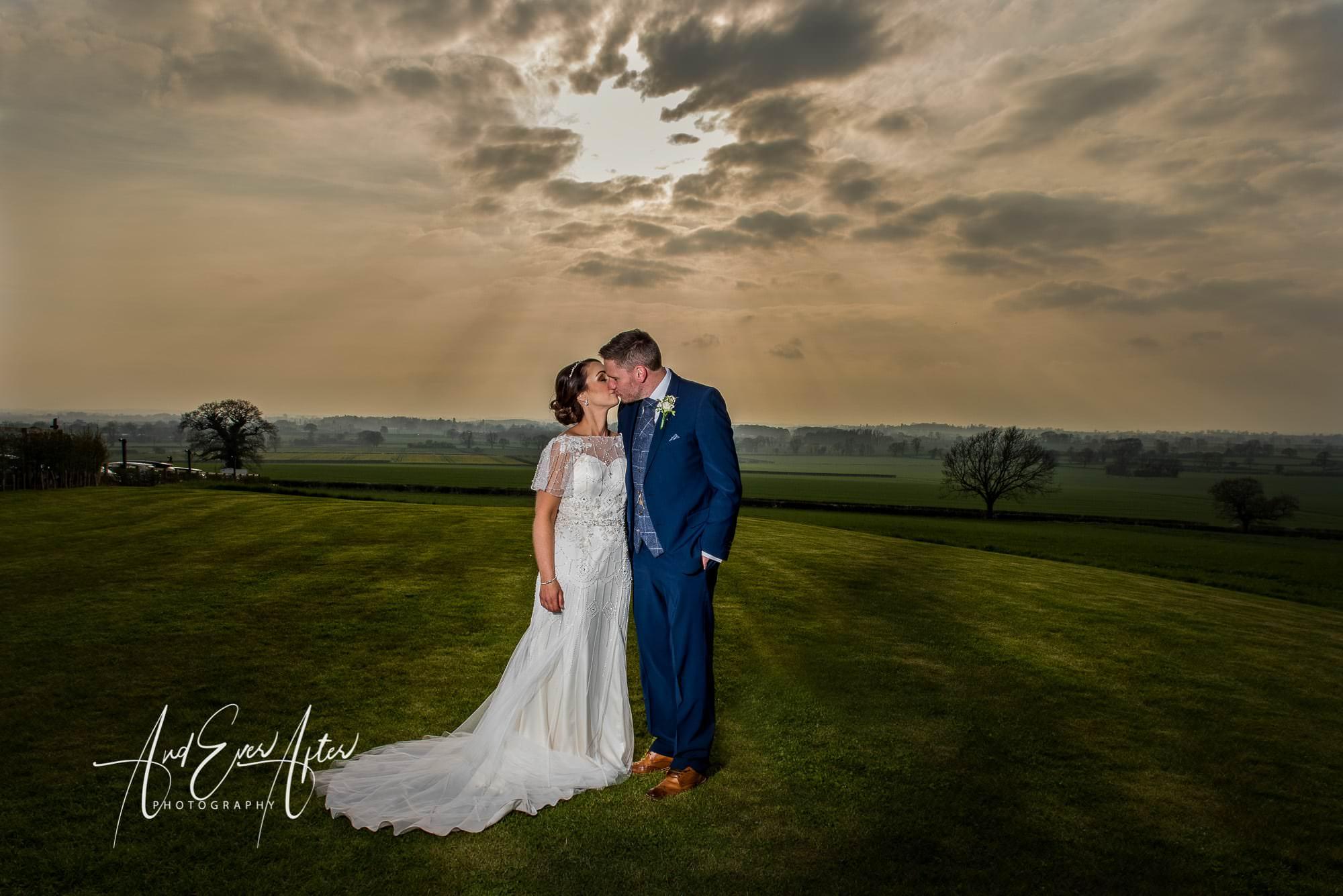 bride, groom, wedding day, love, sunset,
