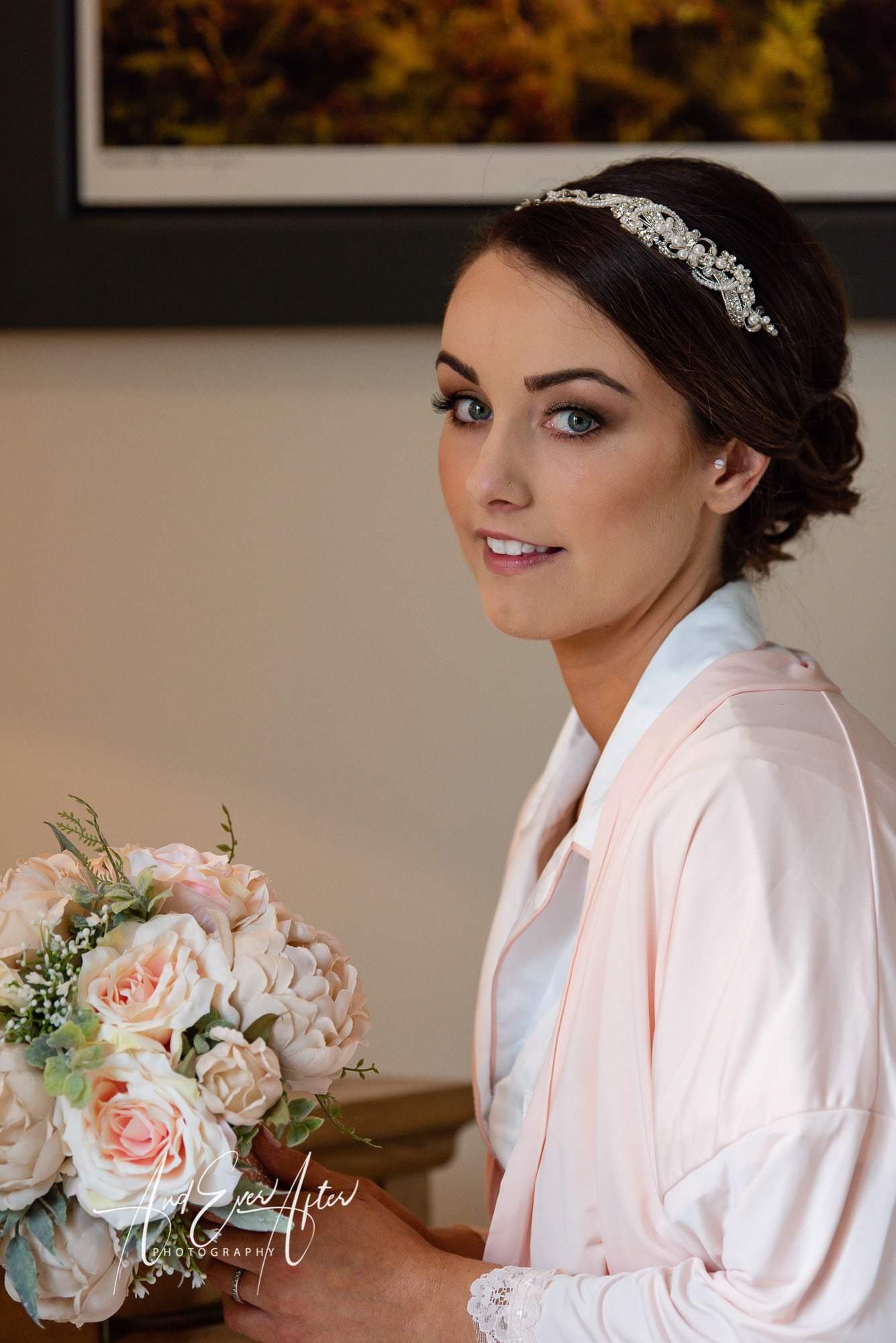 Bride, wedding day flowers