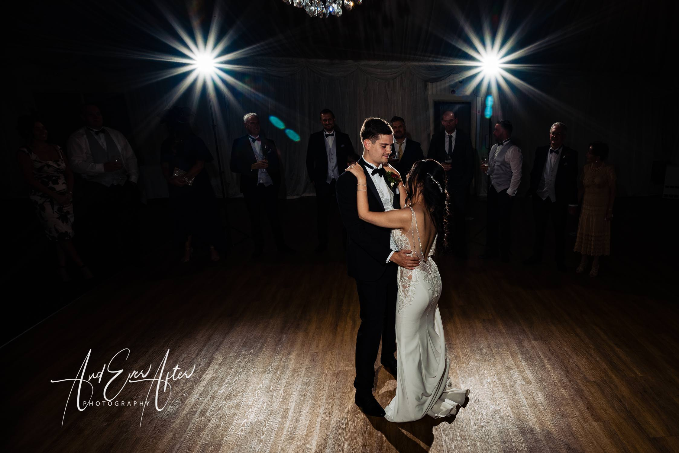 Bride and groom dancing, wedding day first dance, Black Horse at Beamish