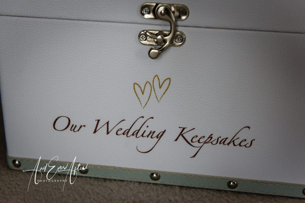 wedding day bridal preparations at Goldsborough Hall, keepsake box for the bride