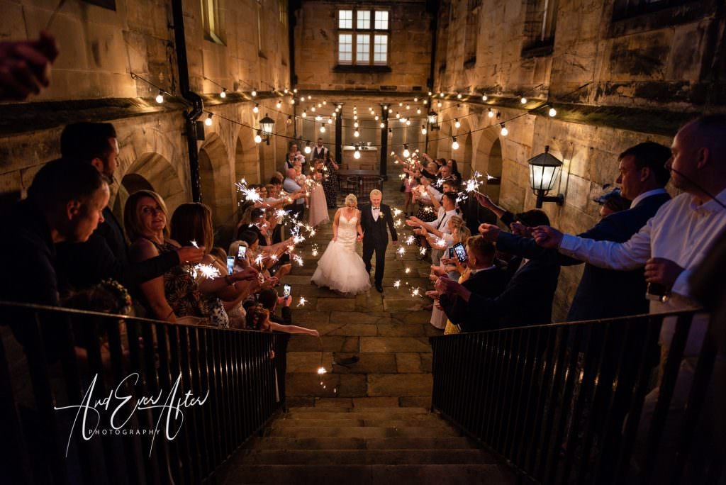Wedding Sparklers, North East wedding venue, matfen hall, wedding photography
