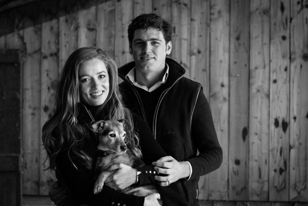 Pre Wedding Photo Shoot, engagement shoot, couple posing with family pet dog