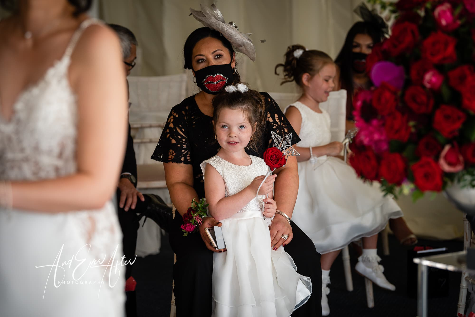 mother of the bride, wedding guests, flower girl