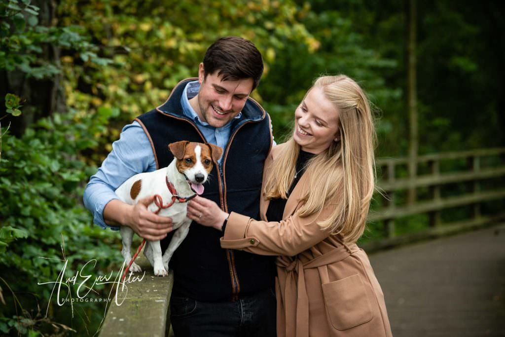 engagement photoshoot, wedding couple to be on photoshoot with their dog