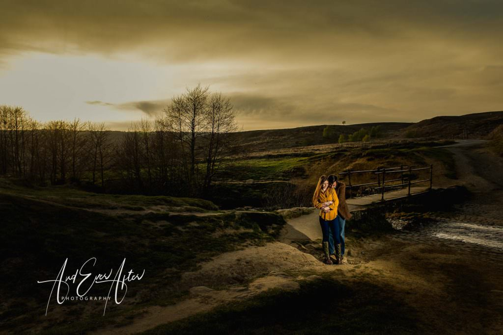 engagement photoshoot, bride and groom to be on the north yokshire moors