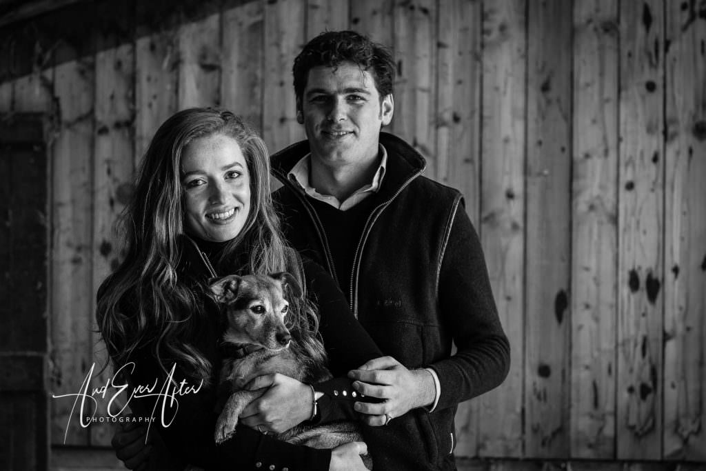 engagement photo shoot, bride and groom to be with their dog