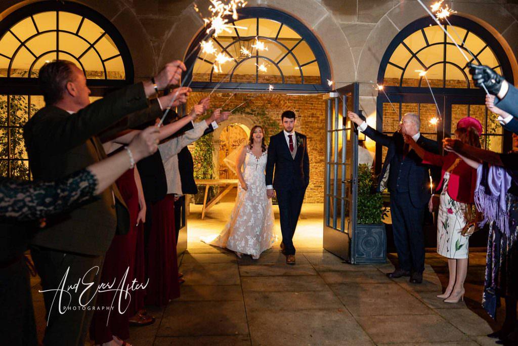 Wedding at Middleton Lodge, Wedding Couple photograph, sparklers