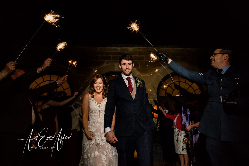 Wedding at Middleton Lodge, Wedding Couple photograph, sparkler send off