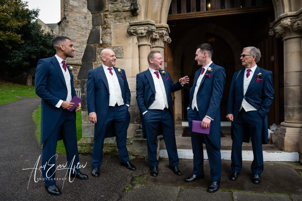 Wedding at st marys church richmond the groom and groomsmen arriving at church.