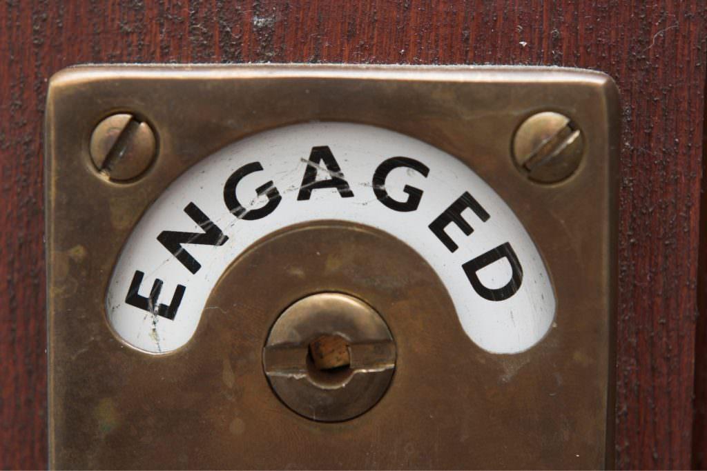 sign saying engaged