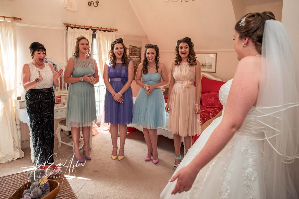 bridal reveal to her mum and her bridesmaids