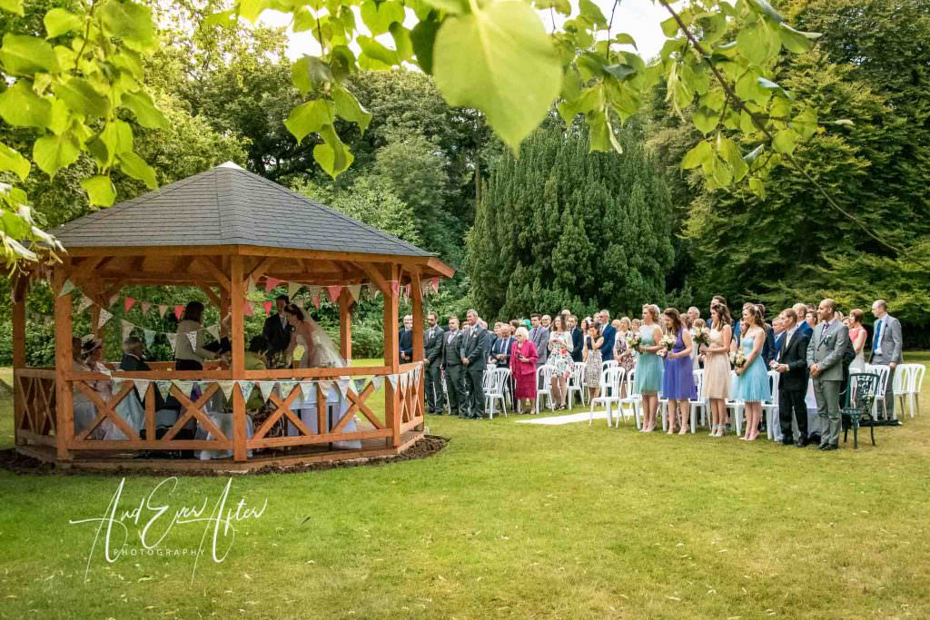 outdoor wedding ceremony at Solberge Hall